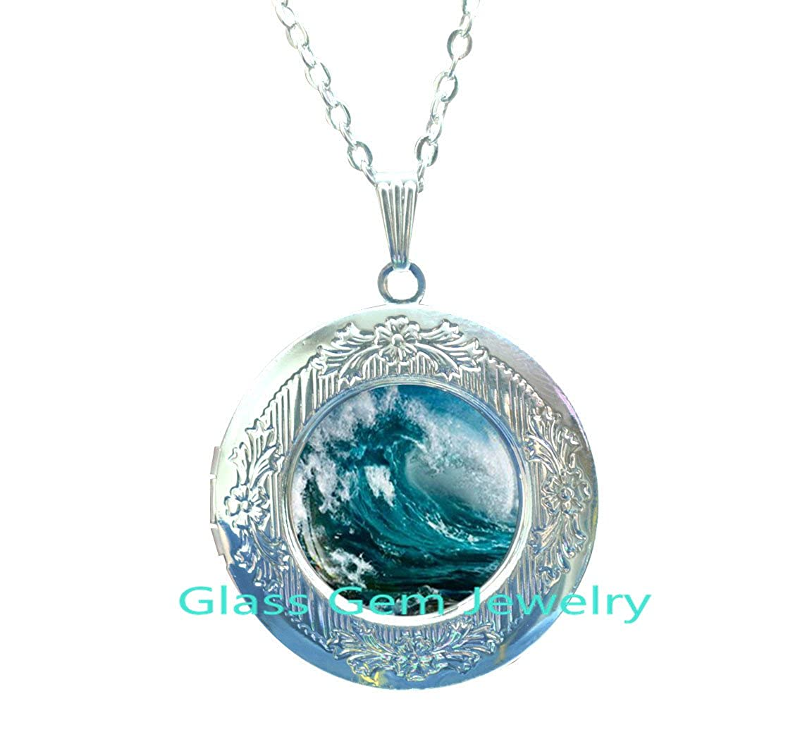 Gifts For Surfers Surfing Locket Necklace Surfboard,Q0044 Water Sport Ocean Wave Locket Necklace Water Wave Locket Necklace Ocean Wave Locket Pendant Wave Locket Necklace