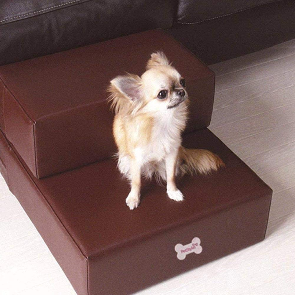 Smooth Steps Folding Leather Pet Stairs Pet Dog Cat Stairs Steps Small Breed Mobility Aid for Aging Dogs Set of 2