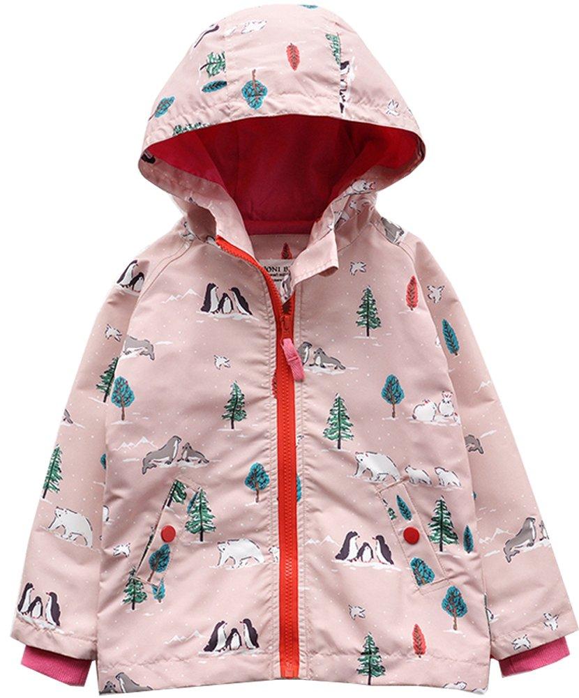 Kedera Girl's Windproof Lightweight Jacket Hooded Raincoat Windbreaker For Camping Traveling (Pink, 7-8)