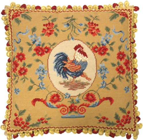 - Deluxe Pillows Rooster Facing Right - 20 x 20 in. needlepoint pillow