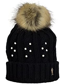 f6f5fa11e3c Surprizeshop Women Crystal Embellished Bobble Hat - Black  Amazon.co ...