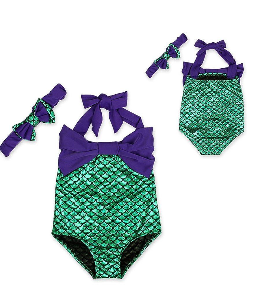 YiJee Neonata Appena Nata Costume da Bagno Mermaid Swimwear Halter Monokini+ Bowknot Fascia