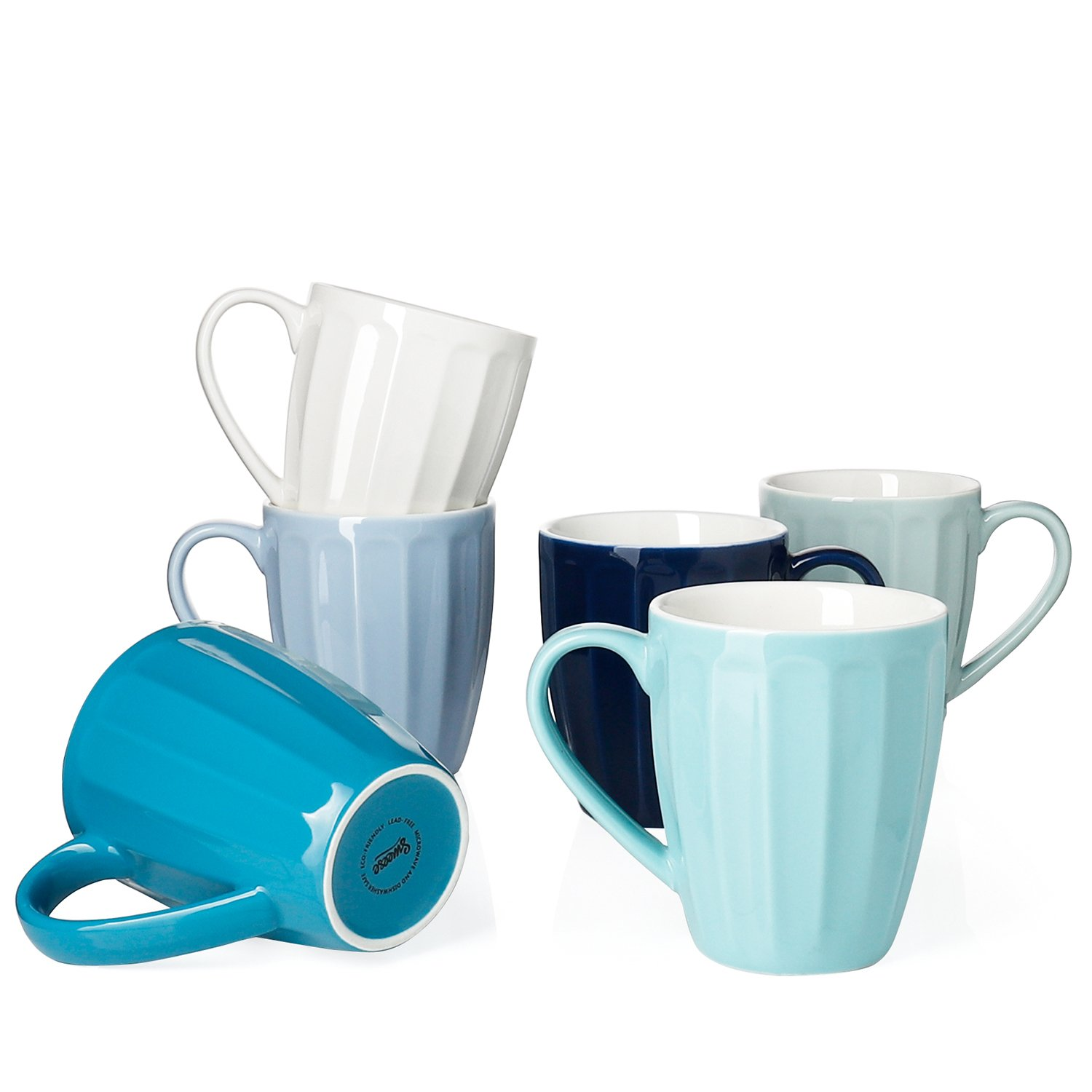 Sweese 6210 Porcelain Mugs - 14 Ounce for Coffee, Tea, Cocoa, Set of 6, Fluted mugs, Cold Assorted Colors