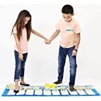 """Keyboard Playmat 54"""" Large Piano Musical Mat - 10 Large Touch Piano Keys - Plays 10 Popular Childrens Songs and Nursery Rhymes, Play Mode, Learning Mode, Adjustable Volume and Tempo, Fun Toy for Kids"""