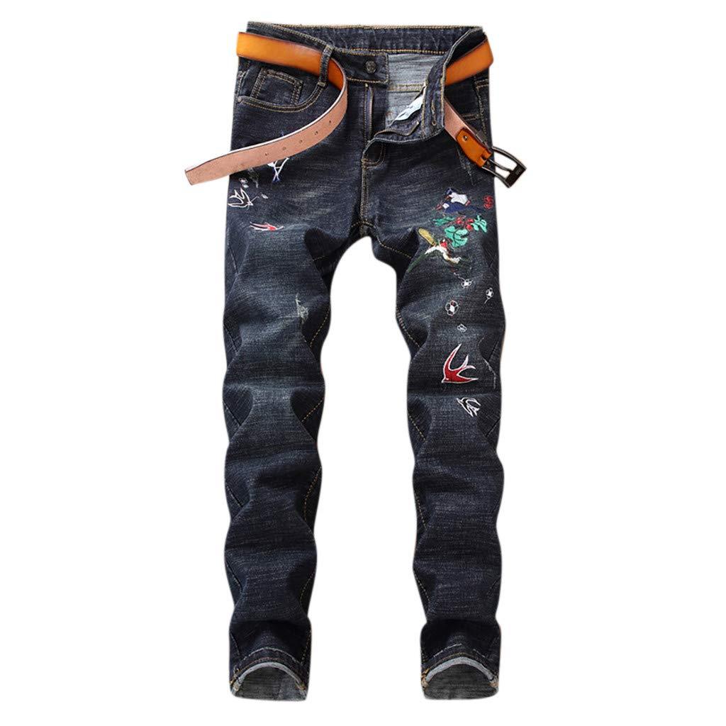 Allywit M-5XL Summer Men Casual Harem Pants Jogger Stripe Fitness Trousers Capri Linen Loose Pants Blue by Allywit-Pants (Image #1)
