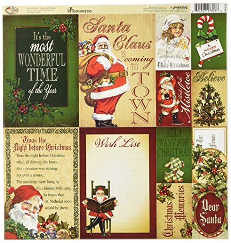 (Reminisce Here Comes Santa Scrapbook 12 by 12-Inch Poster Sticker)