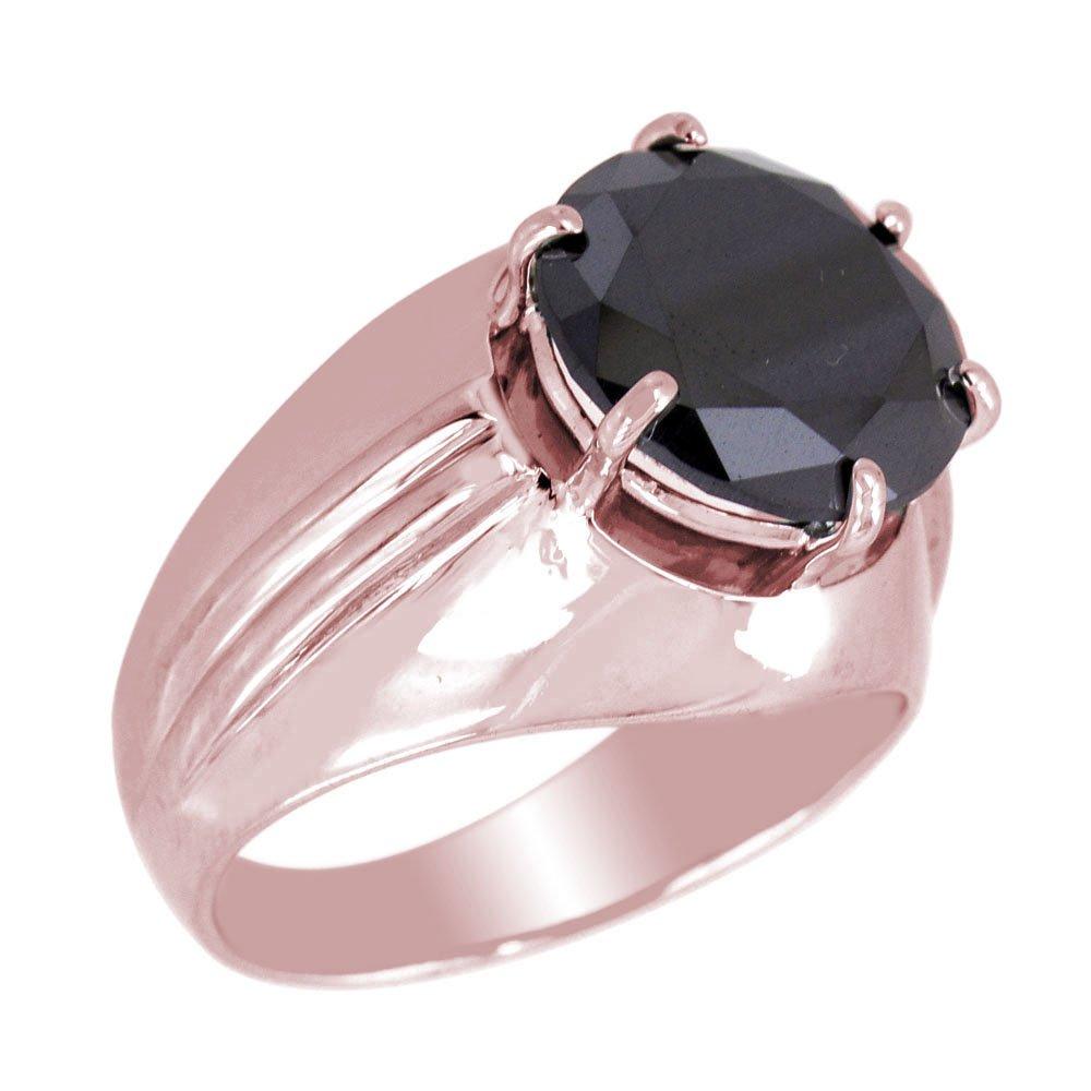 2.10 Ct Round Brilliant Cut Black Diamond Simple Designer 925 Silver Ring in Online Sale Offer