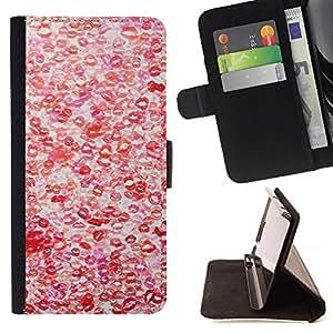 Momo Phone Case / Flip Funda de Cuero Case Cover - Patrón Hot Love Rojo Blanco - Samsung Galaxy A5 ( A5000 ) 2014 Version