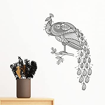 317bbe241b0 Image Unavailable. Image not available for. Color  Bird Paint Peafowl  Colourful Removable Wall Sticker Art Decals Mural DIY Wallpaper for Room  Decal