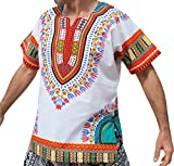 RaanPahMuang Brand Unisex Bright White Cotton Africa Dashiki Shirt Plain Front, Large, White Multicoloured Red
