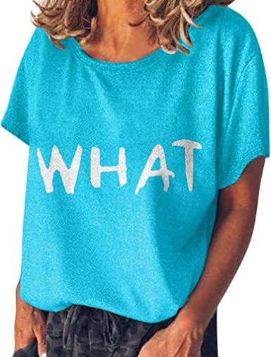 Summer Womens Letter Print Short Sleeve Blouses Tops,Loose V Neck Shirts T-Shirt Casual Tee Tunics Pullover
