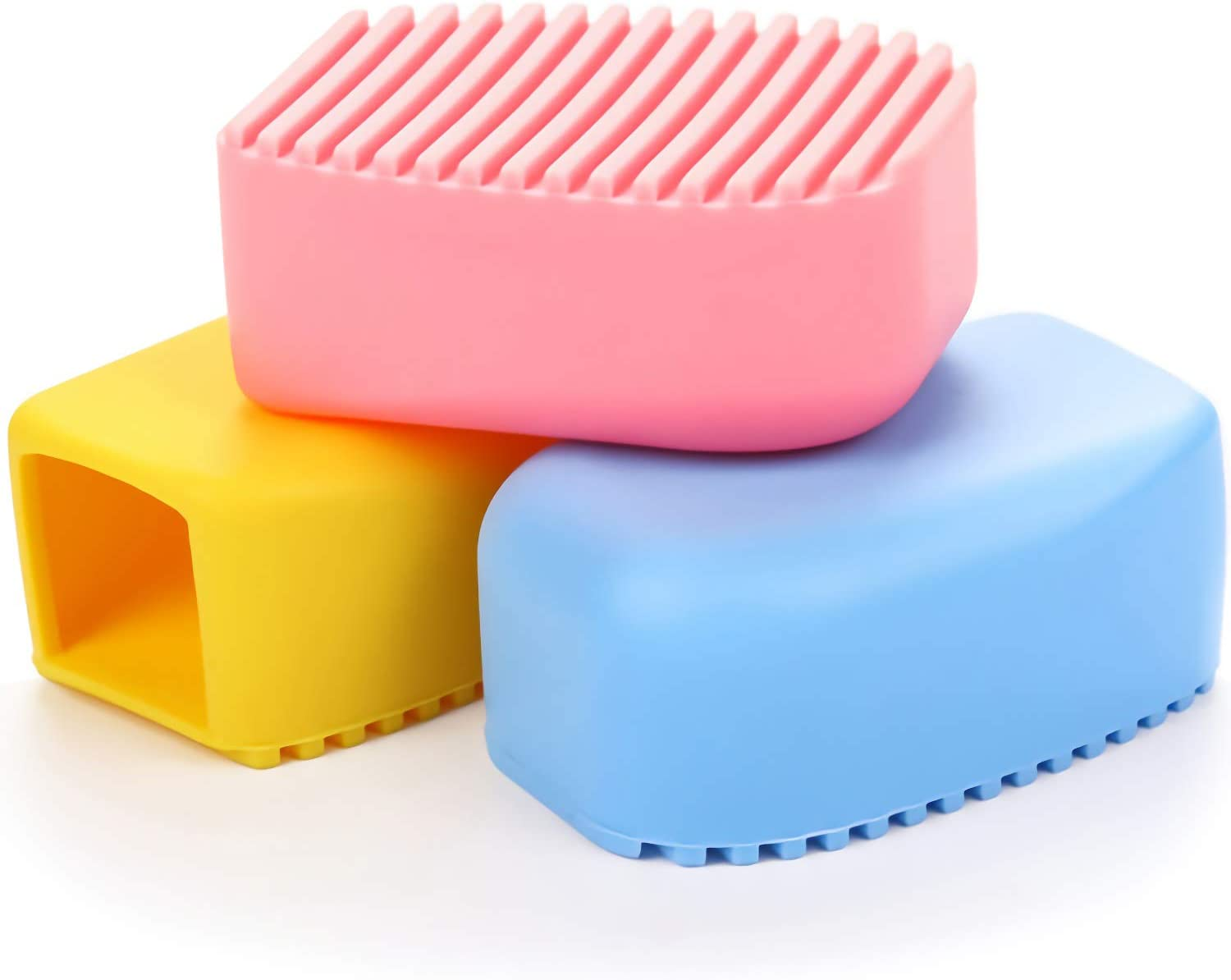 AnFun 3 Pieces Silicone Washboard Creative Mini Antiskid Handheld Laundry Brush Scruber Washboard Candy Color Blue and Pink Wash Clothes Collar Furniture Stain Removal