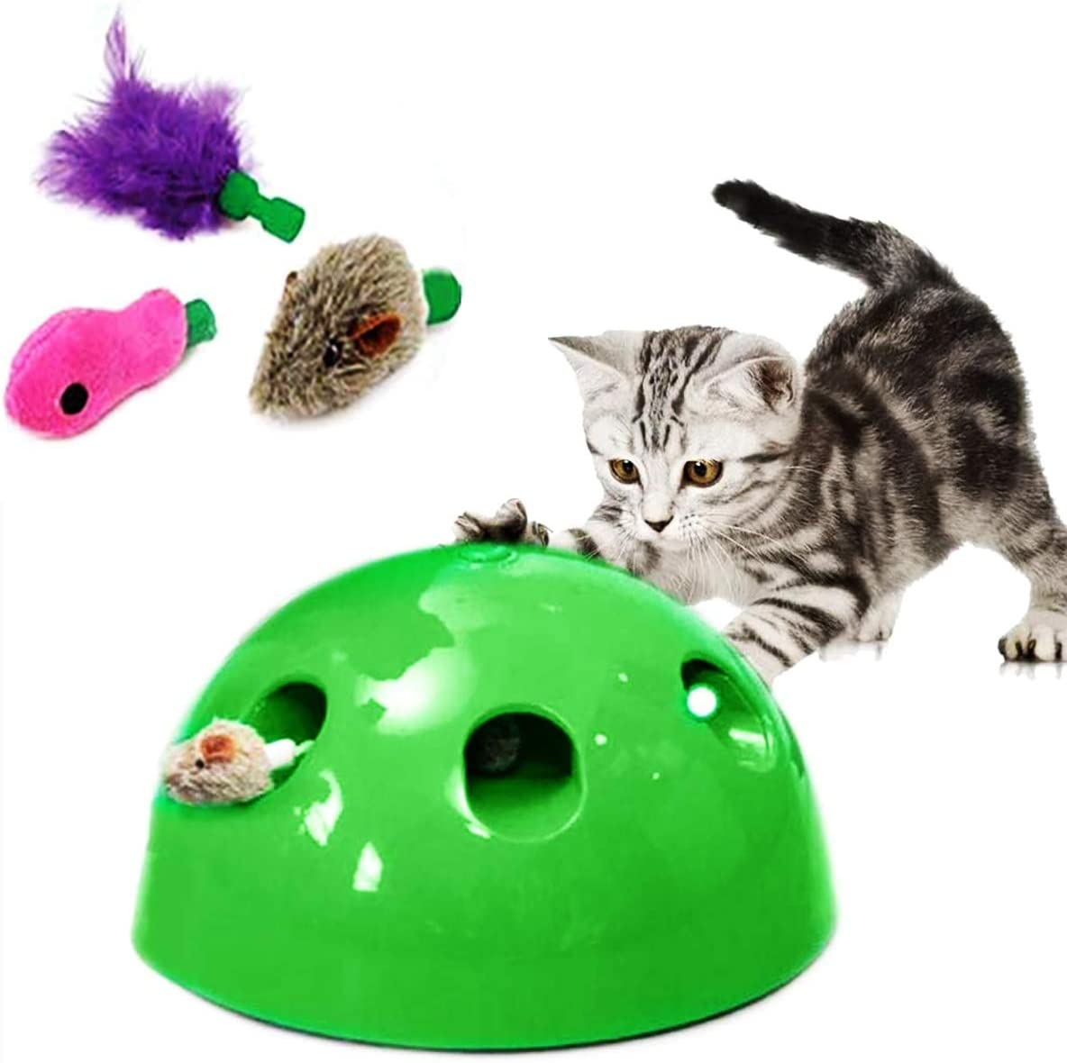 red DOACT Cat Funny Toy Cat Kitten Pet Play Chaser Toy Plush Feather Stick Interactive Training Teaser Toy
