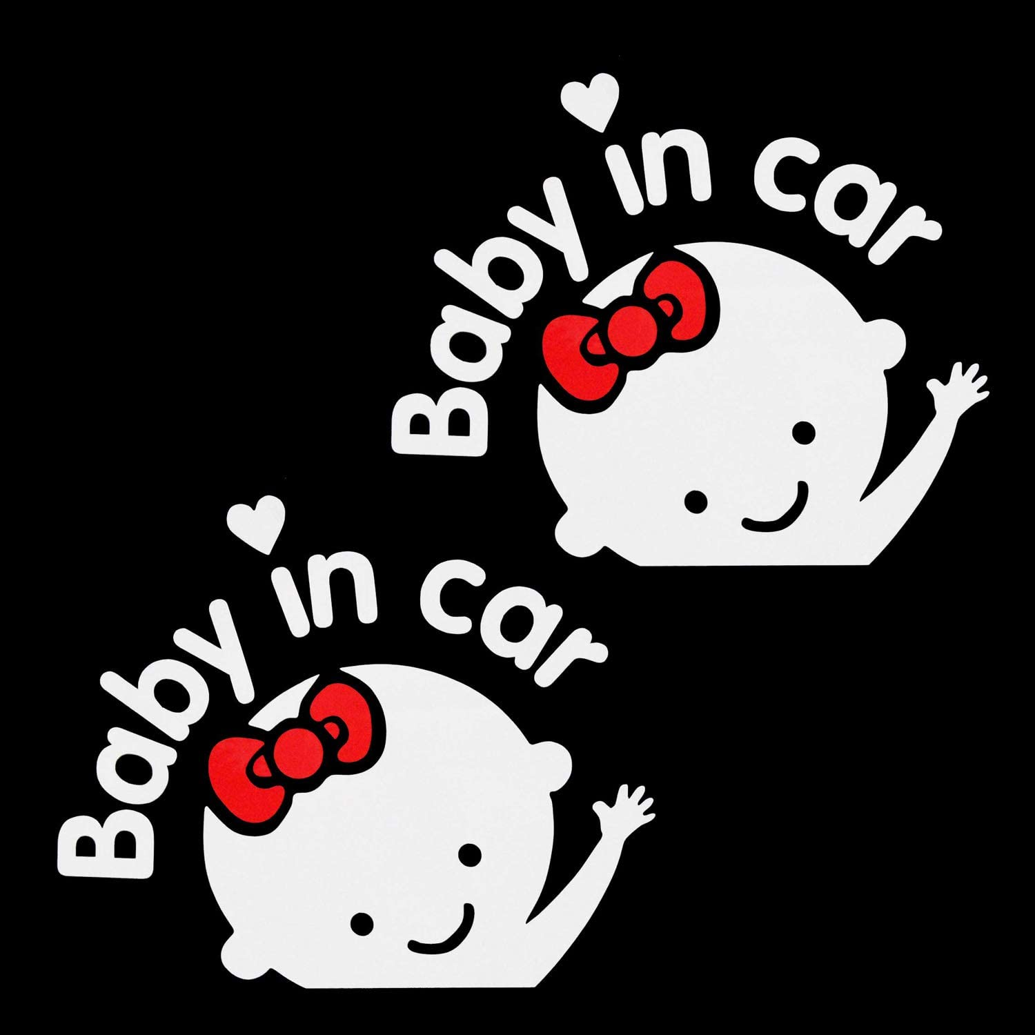 Car Decal Sticker 1-Pack A-BIC-GWH Girl Baby Safety Sign Car Sticker Aaron White Baby in Car