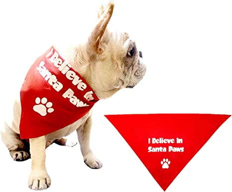 Custom Made Pet Bandana for Dogs Reversible Made to Order Dog Fashion Accessory Featuring a Cute Red Heart Puppy Paw Print