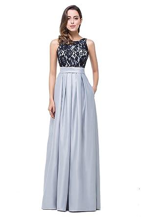 9b7cb0ca9def5e MisShow® Damen Elegant A-Linie Spitzen Abendkleid Ballkleid Rückenfrei Lang  32-46: Amazon.de: Bekleidung