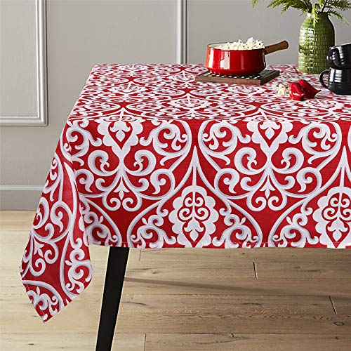 Table Restaurant Covers (Lahome Damask Floral Pattern Tablecloth - Stain Resistant Polyester Table Cover for Kitchen Dining Room Restaurant Party Decoration (Red, Rectangle - 60