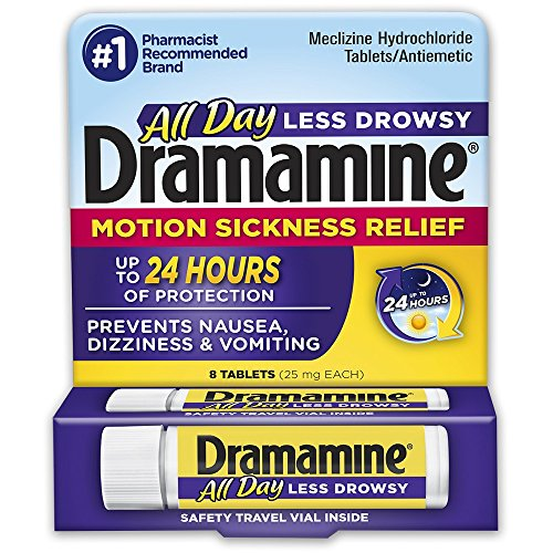 Dramamine Motion Sickness Relief All Day Less Drowsy | 8 Tablets | Travel & Trial Size | Prevents Nausea, Dizziness, and Vomiting up to 24 - Motion Pills Sickness