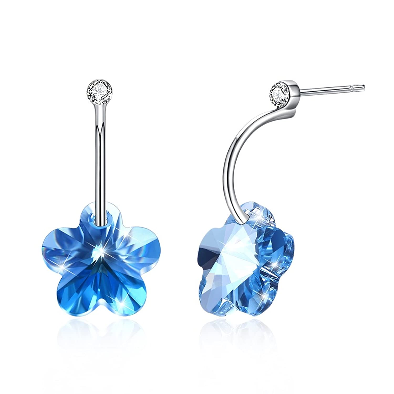 EoCot Silver Plated Blue Crystal Flower Shaped Stud Earrings for Women Girls