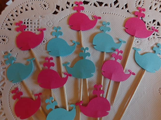 Amazon com: Whale Cupcake Toppers - Bright Pink and Aqua