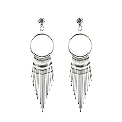 77dad1b382a2b9 Amazon.com: Women Earring 2018 New, Paymenow Girls Metal Tassel Crystal  Rhinestone Stud Earrings Romantic Wedding Hoops Date Earrings Jewelry Gift  (Silver): ...