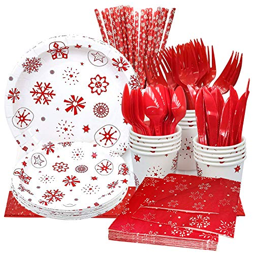 Christmas Party Plates 142 Pcs Christmas Disposable
