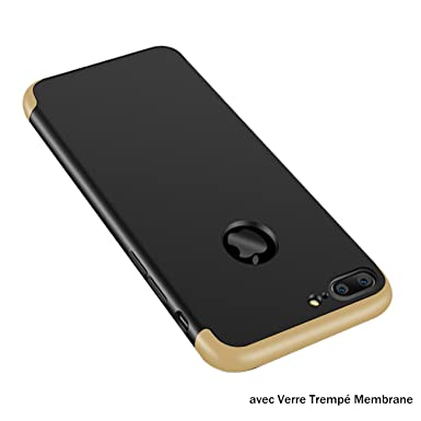 coque 3 en 1 or plaqué étui de protection iphone 8