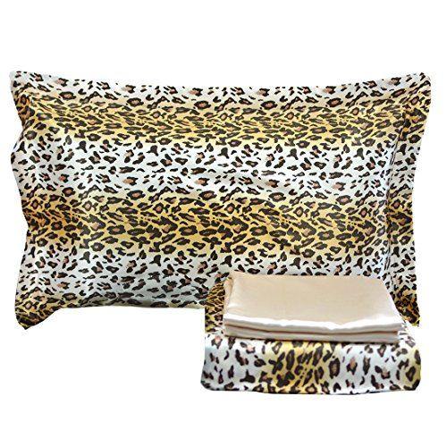 FADFAY Luxury 4-Piece Satin Silky Bed Sheet Set Bedding Collection-Leopard Print, Super Soft Slippery Black / Brown Bedding Set, Full