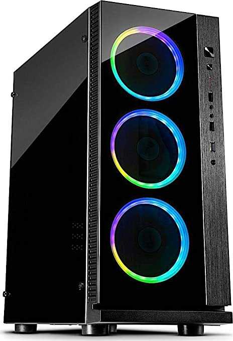 Inter-Tech W-III RGB Torre Negro - Caja de Ordenador (Torre, PC, Aluminio, Vidrio Templado, Negro, ATX,ITX,Micro ATX, Rojo/Verde/Azul): Amazon.es: Informática