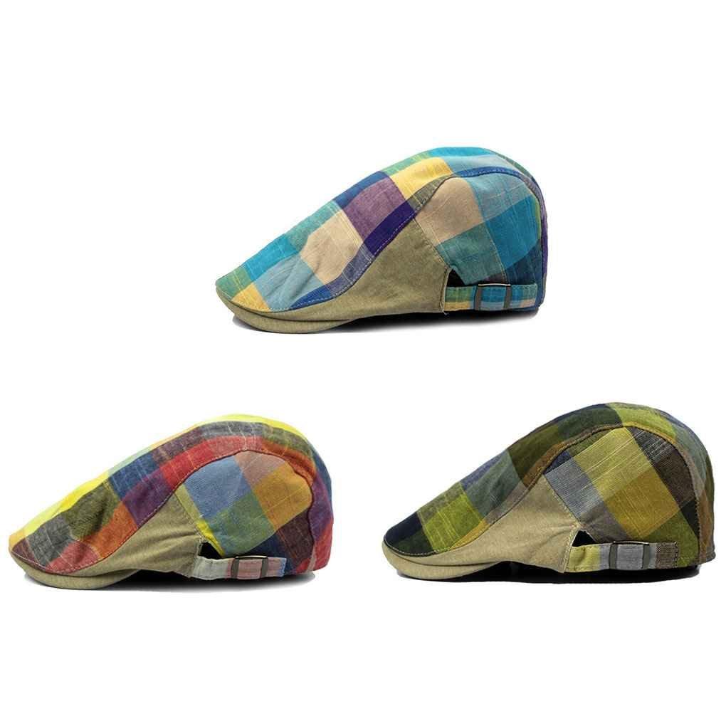 Bobury Hombres Color Lattice Cap Hat Boina Hat Ajustable Flat Top ...