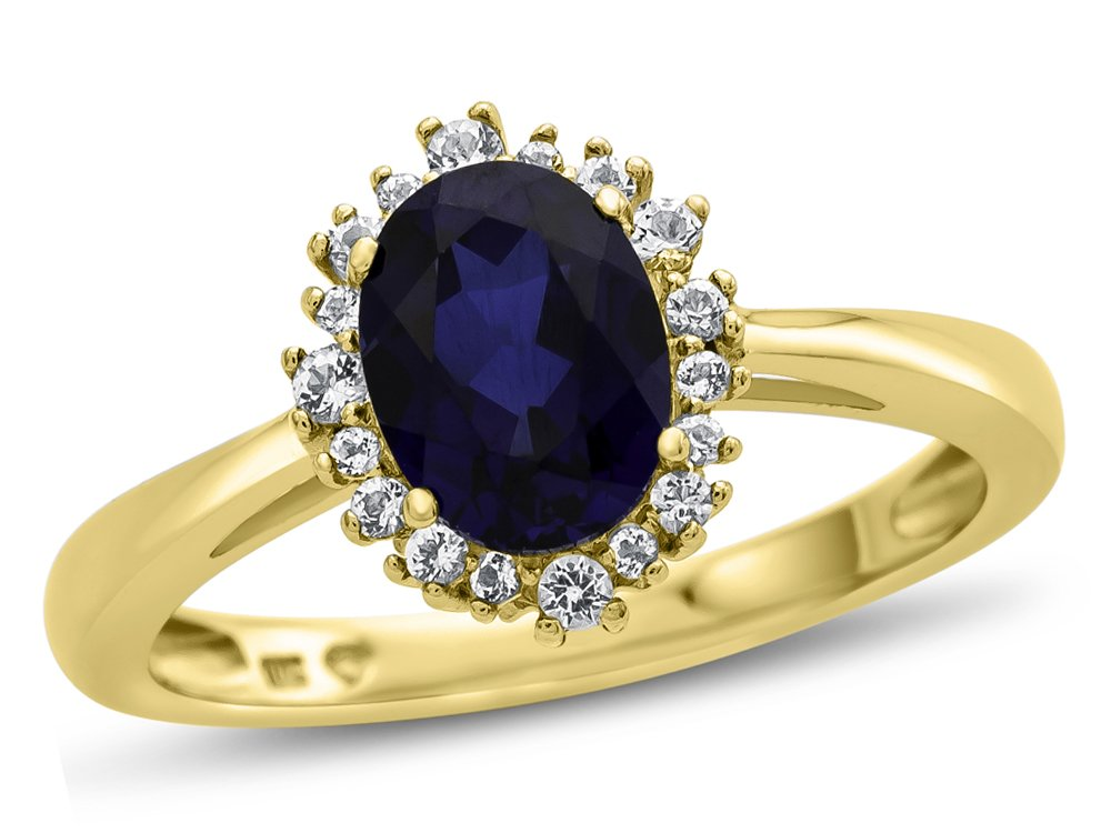 Finejewelers 10k Yellow Gold 8x6mm Oval Created Sapphire with White Topaz accent stones Halo Ring Size 4.5