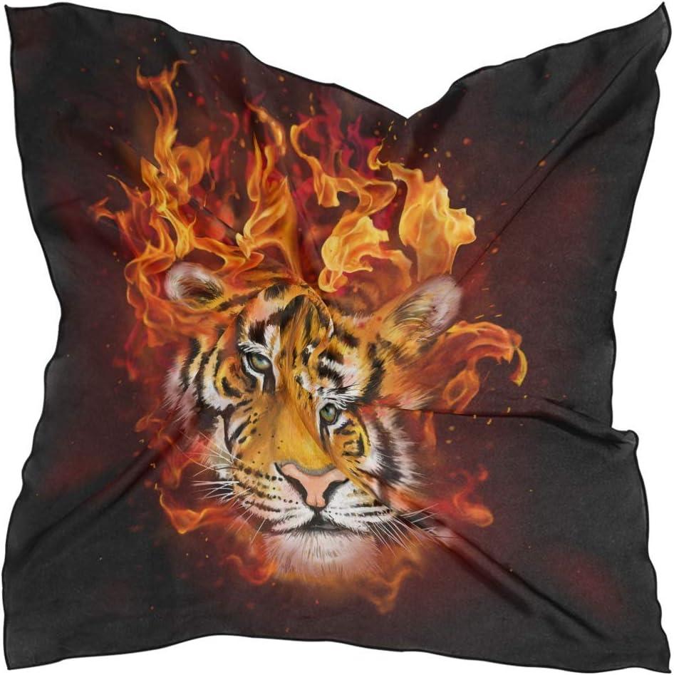 OKME Custom Square Silk Bandana,Pañuelo Divertido del Tigre del Animal del Fuego Ardiente, Diademas Coloridas para El Senderismo del Montar A Caballo,60x60cm