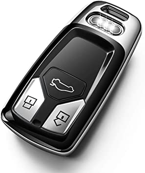 TANGSEN Smart Key Fob Case Silver TPU Protective Cover for Audi A4L A5 Q5L Q7 S4 TT 3 4 Button Keyless Entry Remote Control Accessories