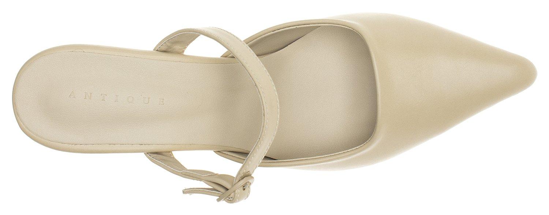 AnnaKastle Womens Pointy Toe Mary Jane Heel Mule B079D72VLD 7.5 B(M) US|Beige