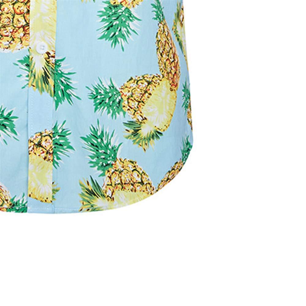 Dempuss Shirt Men Beach Short Sleeve Shirts Pineapple Printed Casual Slim Tops