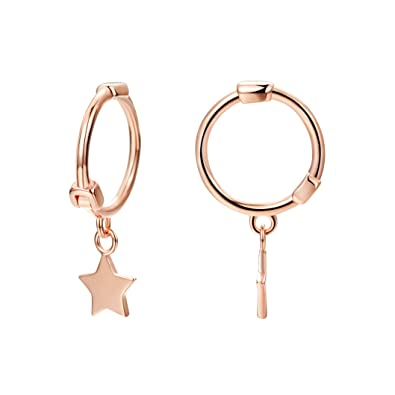 8248b40bd84ad Star Hoop Earring 14k Rose Gold Plated S925 Sterling Silver Small Hoop with  Star Huggie Earring for Women
