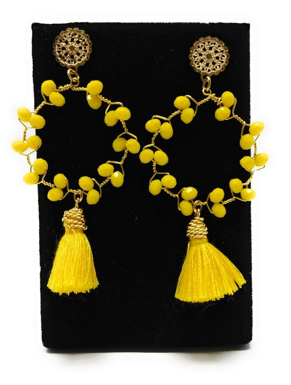 Earring Handmade-Fabric-Pendant-Assorted Colors