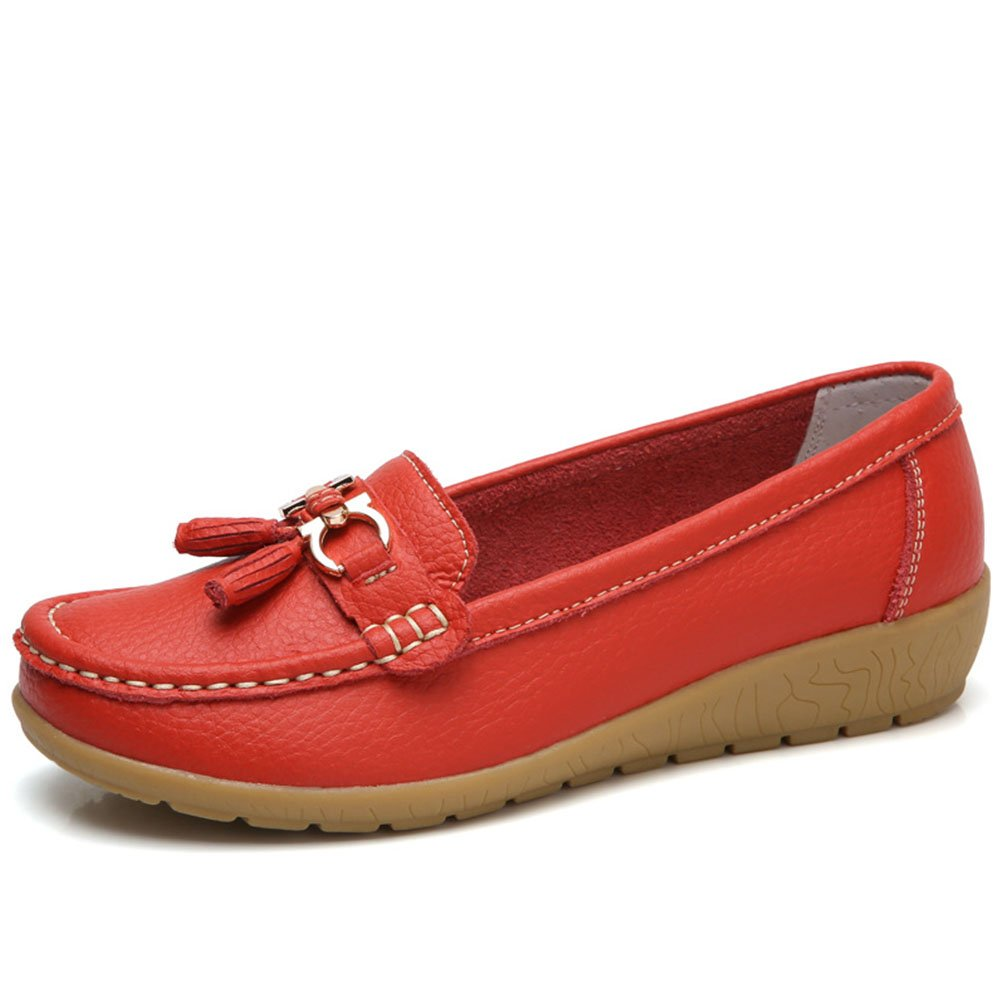 b7b8b633f9a Mordenmiss Women s Wedge Nurse Shoes Tassel Penny Loafers Driving Flat 40  Red
