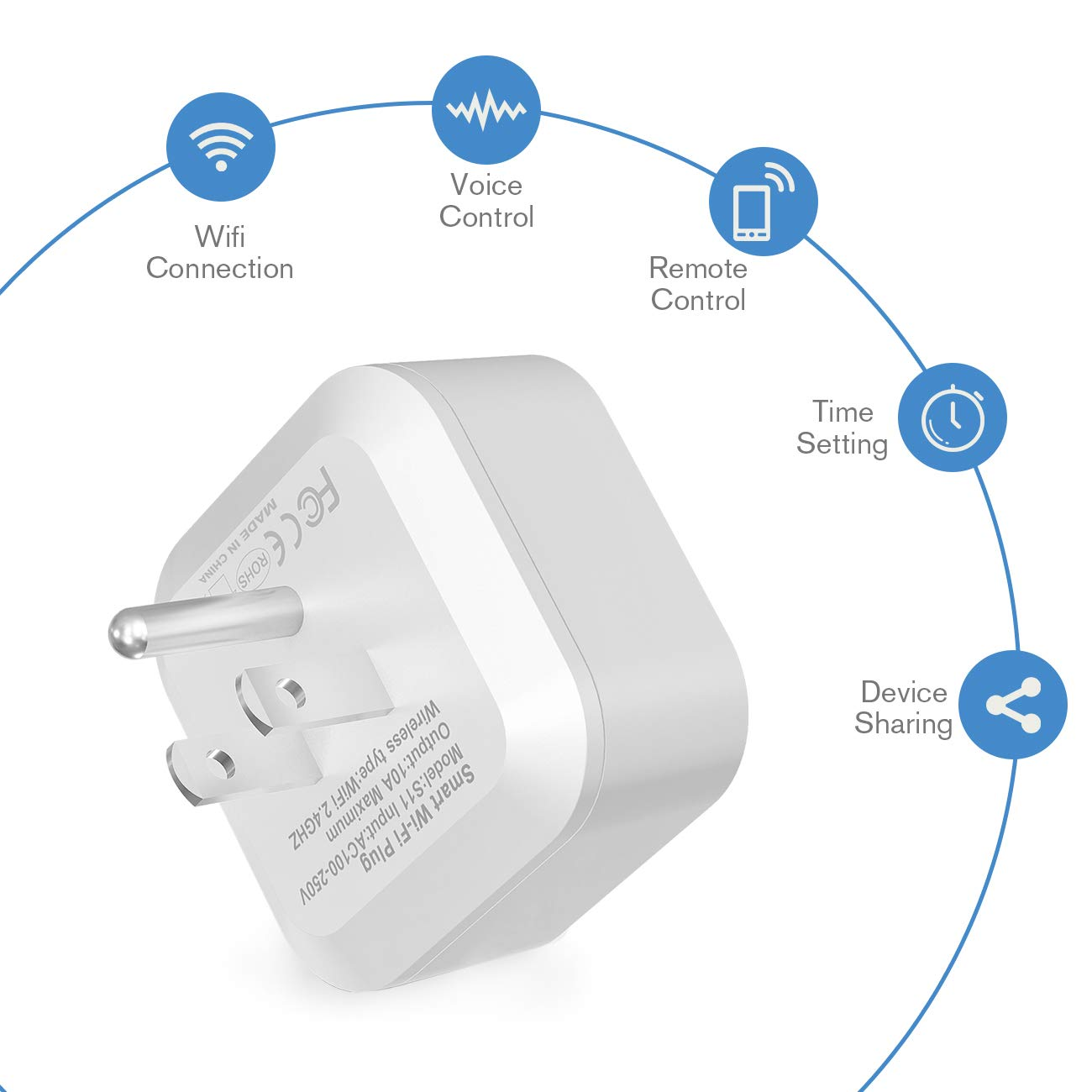 Wi-Fi Smart Plug by AiTechny, Mini Outlet to Control Your Devices from Anywhere with Timing Function, No Hub Required, Compatible with Alexa and Google Assistant (Square-2 Pack)