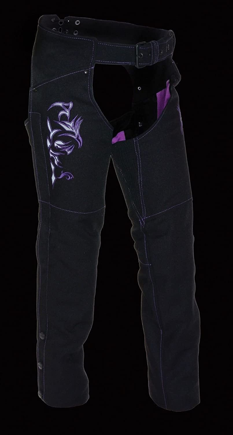 3XL Regular Unbranded Milwaukee WOMENS MOTORCYCLE MOTORBIKE TEXTILE CHAP PURPLE REFLECTIVE EMBROIDERY BLACK NEW