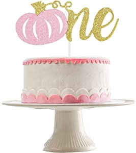 Gold Glittery Pumpkin One Cake Topper- Pink Pumpkin Cake Topper,Fall Birthday Decorations Girl,Pink Girl Fall Pumpkin 1st Birthday Party Cake Decor