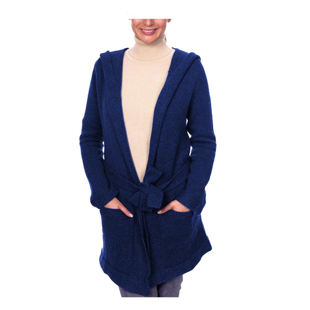 Parisbonbon Women's 100% Cashmere Hooded Cardigan Color Navy Blue Size M