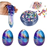 Colorful Crystal Slime Kit, Fluffy Slime Galaxy Slime Eggs, 3 Pack Eggs + 1 Fruit Slices, DIY Toy for Kids and Adults