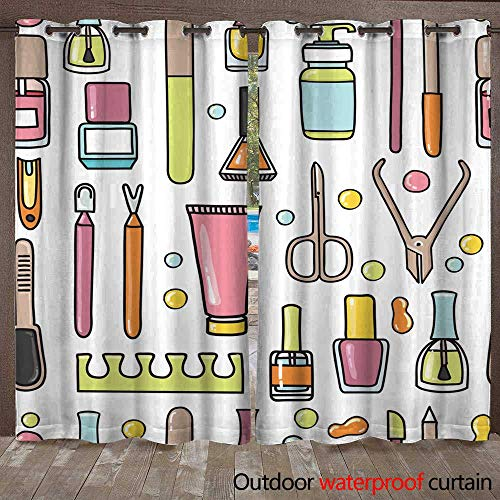 RenteriaDecor Outdoor Ultraviolet Protective Curtains Vector Seamless Pattern of Manicure and Pedicure Doodle Equipment W72 x ()