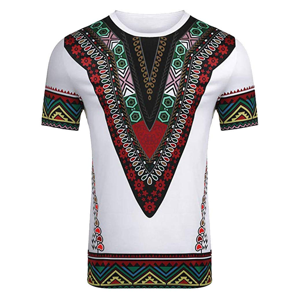 YOMXL Fashion Men African Printed T Shirt Ethnic V Shape Slim Fit Casual Shirt Short Sleeve O-Neck Top Blouse White