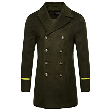 88d1c539382 AOWOFS Men s Mid Long Wool Woolen Coat Winter Double Breasted Military  Overcoat Warm Trench Coat Army