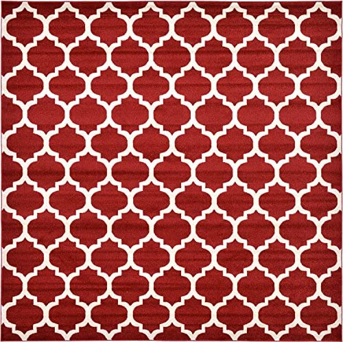Unique Loom Trellis Collection Moroccan Lattice Red Square Rug 10 0 x 10 0