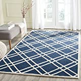 Safavieh Cambridge Collection CAM142G Handmade Navy Blue and Ivory Wool Area Rug, 8-Feet by 10-Feet