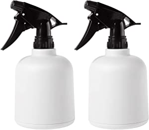 T4U Plastic Plant Mister, Fine Mist Spray Bottle with Top Pump Trigger, Indoor Plant Watering Can Water Sprayer for Flowers Herbs Plants Home Garden White (20oz, Pack of 2)