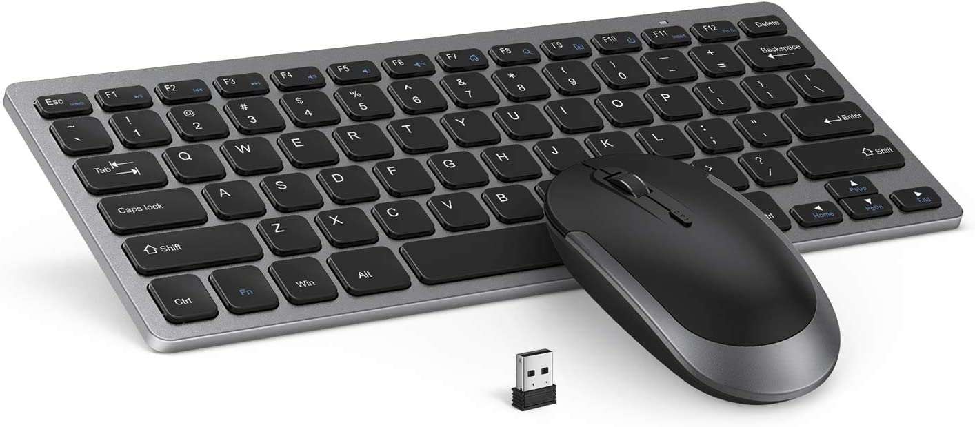 Wireless Keyboard Mouse, Jelly Comb 2.4GHz Ultra Thin Compact Portable Small Wireless Keyboard and Mouse Combo Set for PC, Desktop, Computer, Notebook, Laptop, Windows (Space Gray)